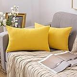 Miulee fundas de cojines almohada caso de la cubierta del amortiguador decorativo lino duradero decoración para sofá camalimón amarillo 12'x 20' 30x50 cm 2 piezas