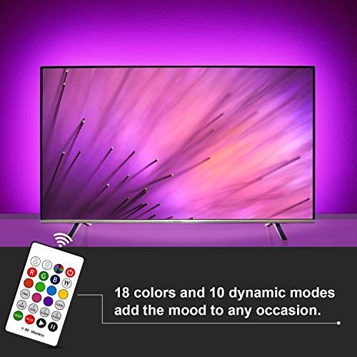 USB LED TV Backlight Bias Lighting For 60 65 70 Inch Behind TV LED Lighting,USB LED Strip Lights With Remote For TV, 16 Colors, Sync ON/OFF With TV