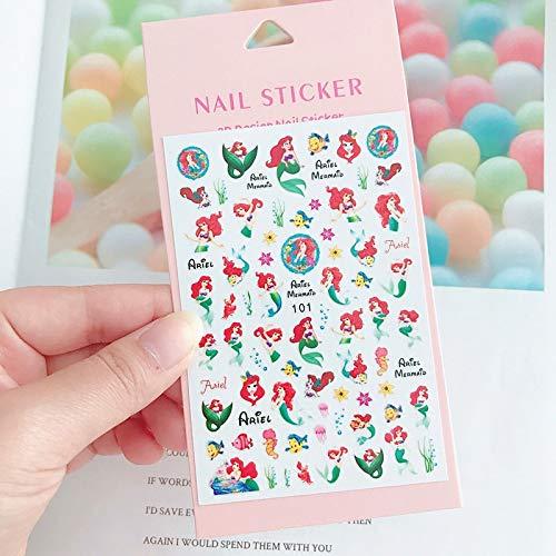 Disney cartoon cute princess mermaid stickers girl nail stickers student children nail stickers diy toys