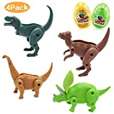 CPSYUB Dinosaur Eggs Toys, Toys for 4-5 Year Old Boys, Easter Eggs Toys for Age 2, 3, 4, 5, 6 Boys / Girls, Toddler Educational Deformation Kid Toys for Learning Dinosaurs History (Foldable, 4 Pack)