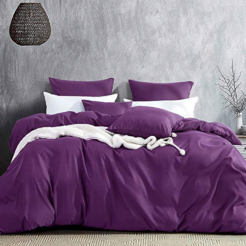 Aisbo Bettwäsche 135x200 lila 4teilig Mikrofaser Bettbezug Set - 2 Bettbezüge 135 x 200 mit Reiverschluss + 2 Kissenbezug 80 x 80 cm