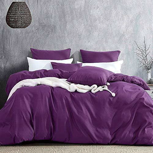 Aisbo Juego de ropa de cama de microfibra de 220 x 240 cm, color lila, 3 piezas, 1 funda nórdica de...