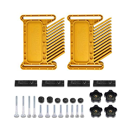 Boloniprod 2 Pack Featherboard True-FLEX Featherboard Double Feather Loc Board Adjustable Woodworking Safety Device Feather-Loc for Stationary Power Cutting Tools Table Saw Radial-Arm Router (Yellow)