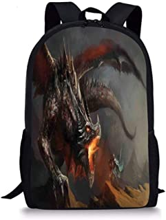 School Bags Medieval,Fantasy Scene Fearless Knight Fighting with Dragon Mythology Art,Dimgrey Charcoal Grey Orange for Boys&Girls Mens Sport Daypack