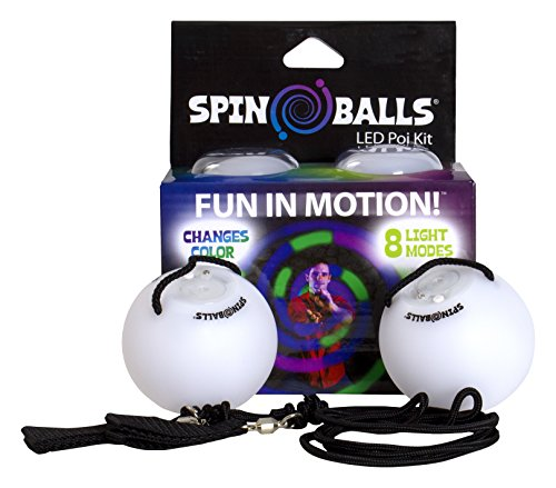 Fun in Motion - Spinballs - Flow Poi Balls - Spinning LED Light Toy - Light Up Spinners - Pair