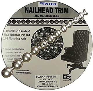 B.C. Upholstery Nailhead Trim with Matching Nails - Pewter - 30 ft (10 yds)