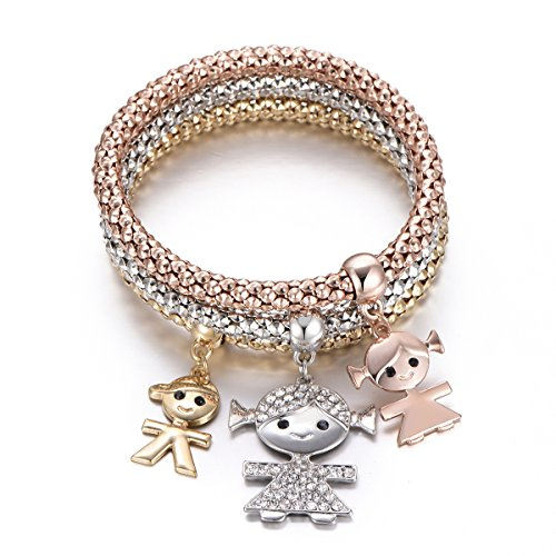 Braccialetto di fascino per donne, collana di ciondolo per bimbi Braccialetto di amicizia per bracciale con cristallo (3 pezzi/set) (Mescola colore)