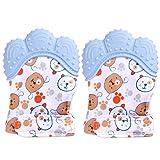 2er Pack Kinderzahnhandschuhe für Babys, Handschuhe Beißringspielzeug, lebensmittelecht (BPA-frei), waschbarer und langlebiger Beißhandschuh Baby verhindern Kratzer Schutzhandschuhe (blau)