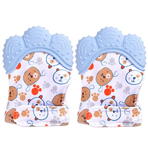Lot de 2 mitaines de dentition pour bébé BPA lavable et durable Gant de dentition pour bébé anti-rayures Gants de protection (bleu)