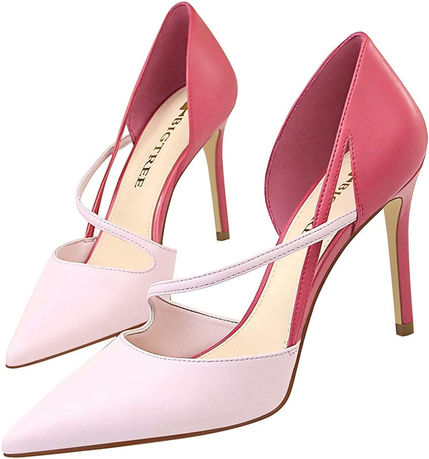 QARYYQ Sexy shoes Sandals, Women's High Heels, 9.5 cm Women's shoes (color   pink Red, Size   34)