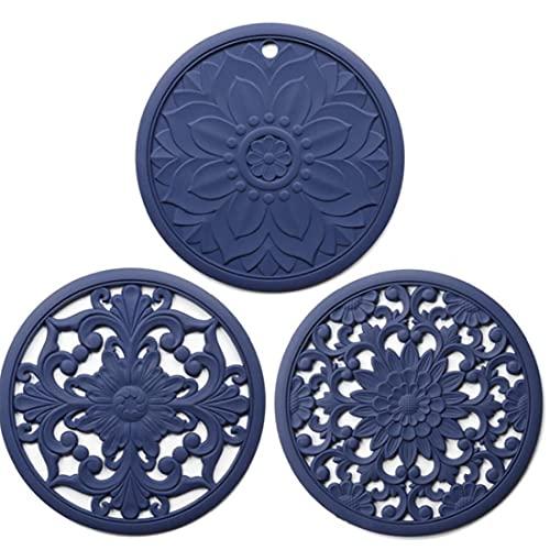AUCDK Salvamanteles Mat Pot Cojín del Aislamiento De Calor Coaster Hueco Tallado De Silicona Antideslizante Flexible para 3pcs Encimera Azul