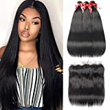 Brazilian Straight Hair 3 Bundles With Frontal Closure(18 20 22+16Frontal) 13x4 Ear to Ear Lace Frontal Closure With Bundles Unprocessed Virgin Human Hair Bundles With Frontal Natural Color