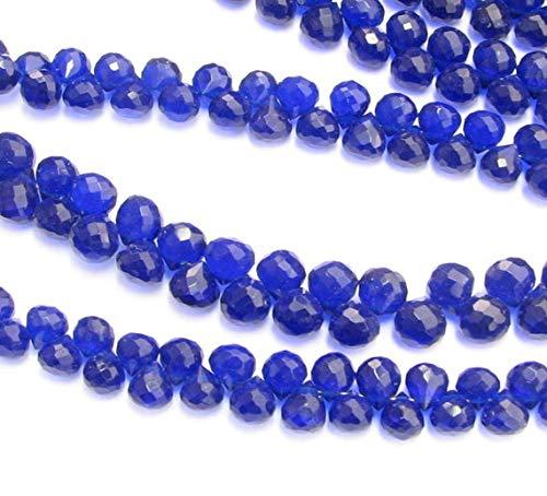 World Wide Gems Beads Gemstone Blue Quartz Onion Candy Kiss Briolette Gemstone Beads 6mm (10 Pieces) Code-HIGH-69530