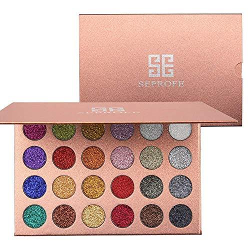 Paleta de sombras de ojos metalizadas con purpurina, 24 colores, prensadas, altamente...