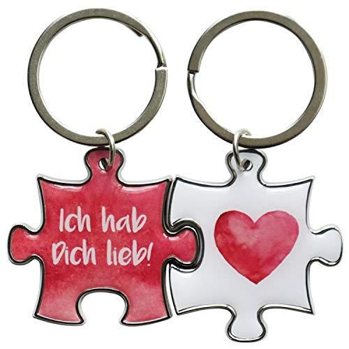 Sheepworld 45322 Schlüssel-Anhänger Du und Ich, Ich hab Dich lieb, 2 Puzzel-Anhänger je ca. 4 cm x 4 cm, mit Schlüssel-Ring