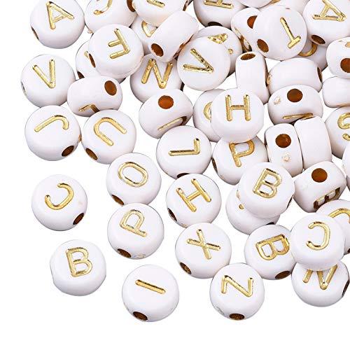 UR URLIFEHALL 3600 piezas de cuentas de acrílico de 7 mm letras del alfabeto abalorios redondos para joyería, fabricación de abalorios, artesanía, tejido, pulseras DIY