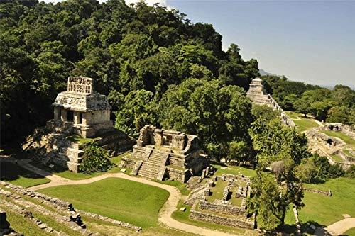 3D DIY Pintura Digital por Numeros Mexico Palenque Ciudad Maya Civilizaciones Antiguas Arte De Pared Moderno Pintura En Lienzo Regalo para Ninos Decoracion del Hogar 30x40cm