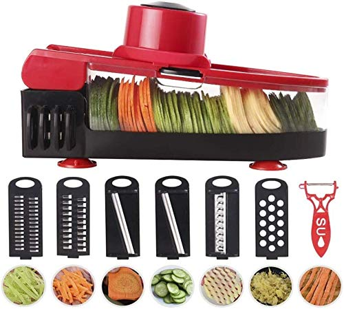 SHIJIAN Gemüseschneider Slicer, 2019 neue Upgrade-Multifunktions-Gemüse Julienne-Zerhacker-Raspel-Frucht-Schneidmaschine-Küche Gadget-Kit for einfache Küche Salatherstellung