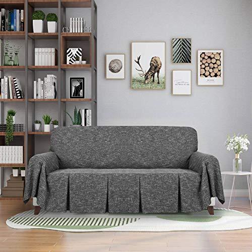 HUANXA Lino Color Sólido Funda De Sofá, Doblez Funda para Sofá para Funda para Sofá En Forma De L 1 2 3 4 Plazas Funda Cubre Sofá-Negro-Dos sillón reclinable Izquierdo