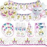 Cumpleaños Unicornio - Kit de Vajilla Desechable Unicornio+Accesorios de Decoración para Fiesta de Niña -16 Invitados