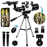 Beginner Telescope for Kids Astronomy - Kid Telescope for Stargazing - Professional Refractor Telescope with Remote, Tripod + Extras - telescopios astronomicos profesionales para Adults