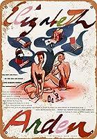 ブリキ看板1941エリザベスアーデンサンタンオイルグッズウォールアート