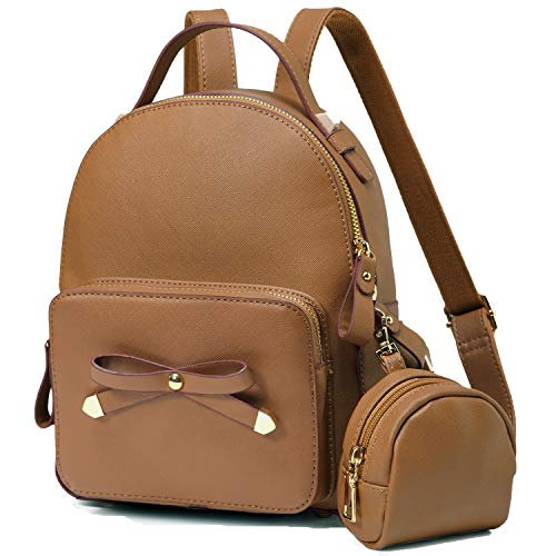 MiniBackpack Purse,VASCHY Cute Small Bow-knot Backpack for Teen Girls,Women and Girls with Detachable Coin Pouch Brown