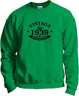 80th Birthday Gift Vintage 1939 Perfect Aged Crown Crewneck Sweatshirt