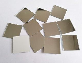 "100PCS Glass Square Mirror Mosaic Tiles Square Craft Mirrors DIY Accessory (1"")"