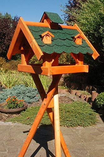 DEKO VERTRIEB BAYERN XXL Vogelhaus mit/ohne Ständer 145cm Holz Futterhaus Vogelfutterhaus Vogelvilla, Farbe: Grün mit Ständer
