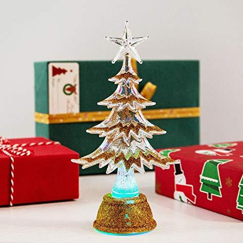 KEAIDO 6.5 pulgadas mesa de Navidad preiluminado árbol luz LED, mini escritorio árbol ornamento lámpara decoración vacaciones suministros de fiesta de Navidad (oro)