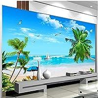Lcymt 壁画の壁紙 海景ビーチココナッツツリー村壁紙リビングルームテレビ背景家の装飾-120X100Cm