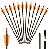 Huntingdoor Armbrustpfeile 16 Zoll Carbonpfeile Armbrustbolzen Bolzen für Armbrust Bogenschießen 12er (Orange-16Inch)