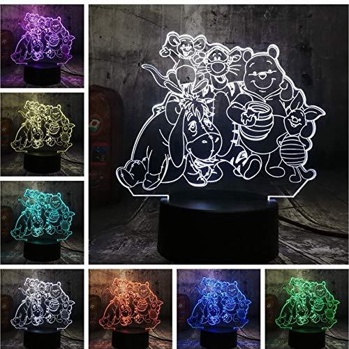 Bande Dessinée Grande Famille Mignon Winnie Bear Bourriquet Tigger Amis 3D LED Veilleuse 7 Couleur Lampe De Table Décor À La Maison Enfants Cadeau De Noël