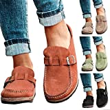 Yibaision Women Casual Shoes, Ladies Loafers Flat Boat Shoes, Leather Moccasins Slip-On Mule Style Summer/Holiday Casual Sandals (Orange, US Size 10/Tag Size 42)