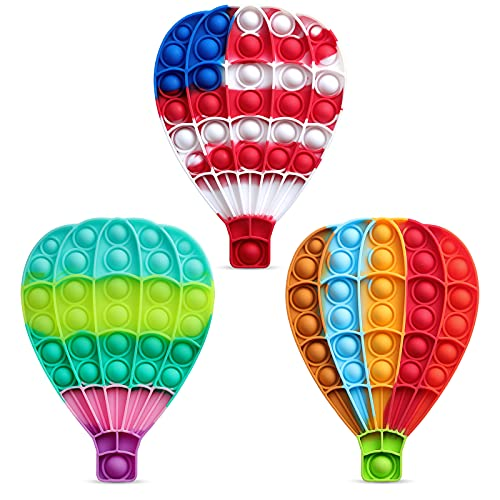 VOFUOE 3 PCS Pop Toys Hot Air Balloon Fidget Sensory Toy,Push It Bubble Silicone Stress Reliever Squeeze Toys with Pop Sound Rainbow Autism Special Needs for Kids Adults