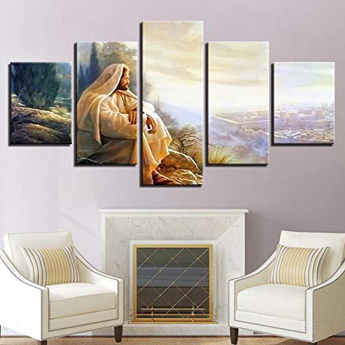 Cyalla Leinwanddrucke Moderne Leinwand Wohnkultur Gemälde Wandkunst 5 Stücke Jesus Christus Bilder Wohnzimmer Hd Drucke Poster Rahmen Drucke Auf Leinwand 200X100Cm