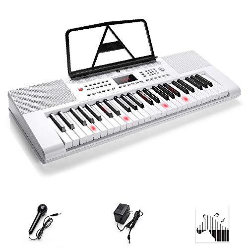 Vangoa Teclado Electrónico portátil con 49 teclas iluminadas LED Teclado de Piano para Principiante con Modo de enseñanza, micrófono, Blanco