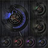 AnnQing Pianista Disco de Vinilo Reloj de Pared Orquesta Sinfónica clásica Sala de música Estudio Pianista Arte de Pared Músico Música Profesor Regalo-with Led
