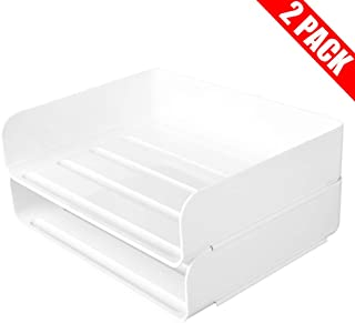 Stackable Desktop Document Letter Tray Organizer Accessories Paper Tray, Multi-Layer File Sorter Storage Paper Holder Stylish (2 Pack)