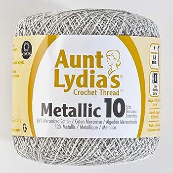 Coats Crochet Metallic Crochet Thread 10 White/Silver