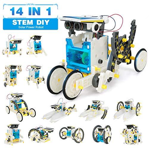 Pickwoo 14 in 1 Solar Roboter Bausatz Set Kinder, STEM Spielzeug Konstruktion Bauset, Educational Lernspielzeug mit Solar Wissenschaft Experimentierkasten Science Kit für Kinder über 8 Jahren
