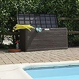 Be-Creative Baúl de almacenamiento impermeable de 280 l, con efecto de madera, color marrón