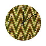 Reloj de Pared ,Rasta, Colores Vivos Colores de la, Relojes de Pared Digitales de Madera Que no Hacen tictac, Funcionan con Pilas, decoración Sala de Estar, Dormitorio, Aula, Oficina (12 Pulgadas).