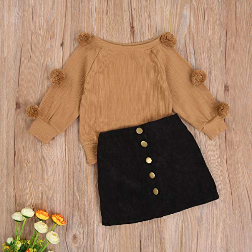 Toddler Kids Baby Girl Clothes Knitted Long Sleeve Pom Pom Sweater Tops Black Skirt Fall Outfits Fashion Clothing (Khaki,4-5T)
