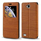 Huawei Honor 3C 4G Case, Wood Grain Leather Case with Card