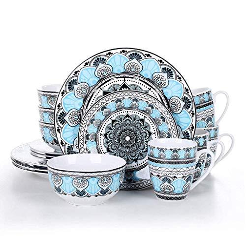 XXSHN Juego de vajilla de Plato de Cena de Porcelana de cerámica de 16 Piezas con Plato de Cena, Plato de Postre, Cuenco de Cereal, Juego de Tazas de 380 ml