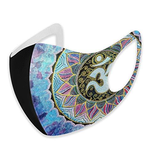 Mundschutz für Erwachsene Mandala Regenbogen Indigo Blume Anti-Staub halbes Gesicht winddicht für Damen Herren