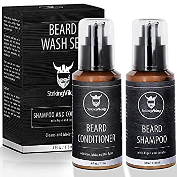 Beard Shampoo and Conditioner for Men Striking Viking Beard Wash Set Cleanse Softens & Conditions with Natural & Organic Argan and Jojoba Beard Oils Sulfate & Paraben Free