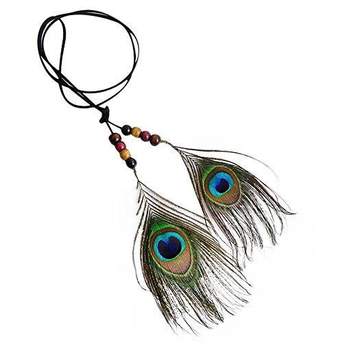 Qiuday Kette für Damen | Halskette Schmuck aus Federn | Lange Gold Lederkette mit Feder Traumfänger Anhänger | Indische wunderschöne Feder Stirnband Kopfschmuck Kopfschmuck | Geschenk für Frauen